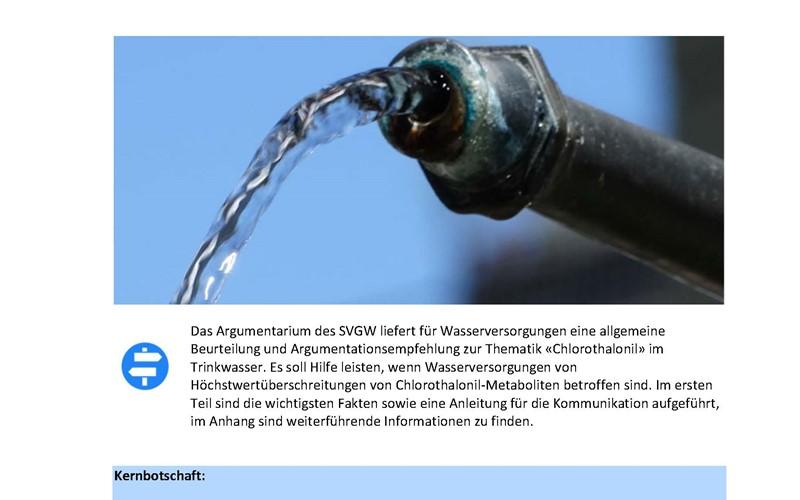 Aktualisiert: Argumentarium «Chlorothalonil-Metaboliten im Trinkwasser»